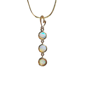 THREE TEAR HEART DROP 14kt GOLD OPAL NECKLACE