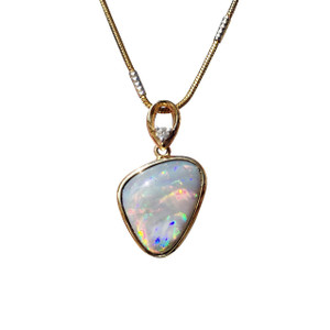 MAGNIFICENT LOVE 14kt GOLD BLACK OPAL & DIAMOND NECKLACE