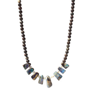 GREEN FLEC BEAD OPAL NECKLACE