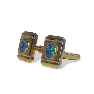 18kt GOLD PLATED OPAL CUFF LINKS WITH GREEN FLASH