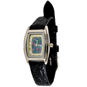 GENUINE LEATHER OPAL WATCH (BLACK)