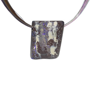 CLEAR PURPLE & POTCH BOULDER OPAL NECKLACE