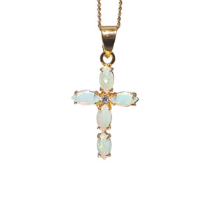 WHITE OPAL 18kt GOLD PLATED CROSS NECKLACE