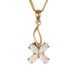 WHITE OPAL CLOVE 18kt GOLD PLATED NECKLACE
