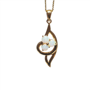 TRI OLYPMIC 18kt GOLD PLATED WHITE OPAL NECKLACE