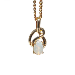 WHITE OPAL TWIST 18kt GOLD PLATED NECKLACE