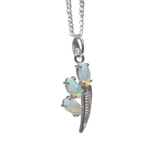 STERLING SILVER TORCH WHITE OPAL NECKLACE