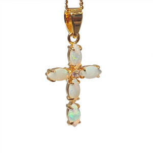 SHINNING CROSS 18kt GOLD PLATED OPAL NECKLACE