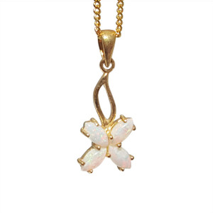 LUCKY 4 LEAF FLOWER 18kt GOLD PLATED OPAL NECKLACE
