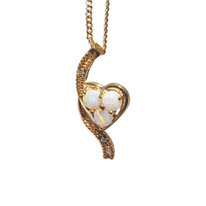 TWISTED HEART 18kt GOLD PLATED OPAL NECKLACE