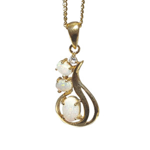 OPAL TRIO 18kt GOLD PLATED OPAL NECKLACE