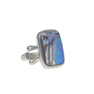 BLUE FLASH STERLING SILVER OPAL RING