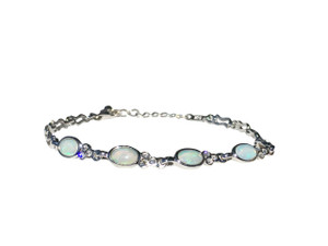 RADIANT 4 PART WHITE OPAL STERLING SILVER BRACELET