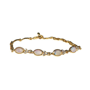 STRIKING 4 PART 18kt GOLD PLATED OPAL BRACELET