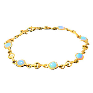 DAINTY 6 PART 18kt GOLD PLATED OPAL BRACELET