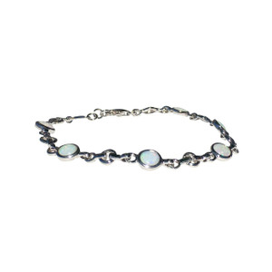 FLOWING 6 PART STERLING SILVER  WHITE OPAL BRACELET
