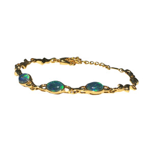 BLUE GREEN 3 TIER 18kt GOLD PLATED OPAL BRACELET