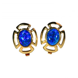 OCEAN SWIRL 18kt GOLD PLATED OPAL EARRINGS