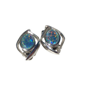 BRIGHT LIGHT STERLING SILVER OPAL EARRINGS
