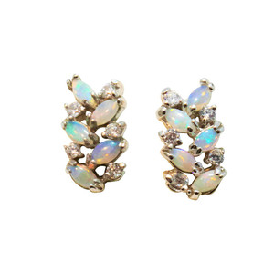 SWIRLING FLASH STERLING SILVER WHITE OPAL EARRINGS