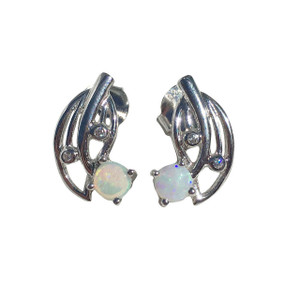 GUARDIAN ANGEL STERLING SILVER WHITE OPAL EARRINGS