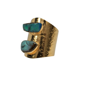 ELECTRIC OPAL SEA GREEN 18KT GOLD PLATED RING