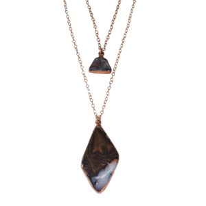 ELECTRIC OPAL 2 STONE LAYERED 18KT ROSE GOLD PLATED NECKLACE