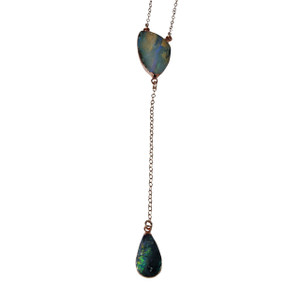 ELECTRIC OPAL DOUBLE DROP LAYERED 18KT ROSE GOLD PLATED NECKLACE