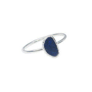 ELECTRIC OPAL LUNAR  ECLIPSE STACKABLE  SILVER PLATED RING