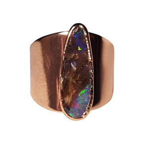 ELECTRIC MIDNIGHT 18kt GOLD PLATED OPAL RING