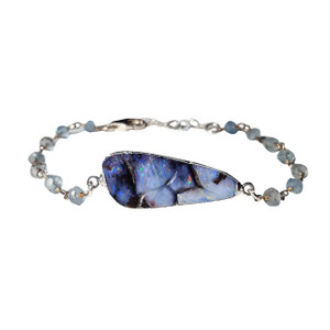 WHITE WINTER SNOW OPAL & AQUAMARINE STERLING SILVER PLATED BRACELET