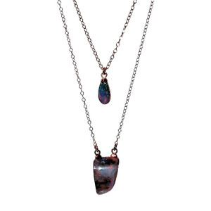 MAGESTIC DOUBLE DROP LAYERED 18kt ROSE GOLD PLATED OPAL NECKLACE