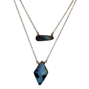ELECTRIC AQUA MARINE 18kt GOLD PLATED OPAL NECKLACE