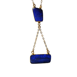 ELECTRIC BLUE TRIO 18kt GOLD PLATED OPAL NECKLACE