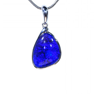 BLUE WAVES STERLING SILVER OPAL NECKLACE