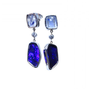 NIGHT KING 14kt WHITE GOLD SOLID NATURAL AUSTRALIAN OPAL EARRINGS