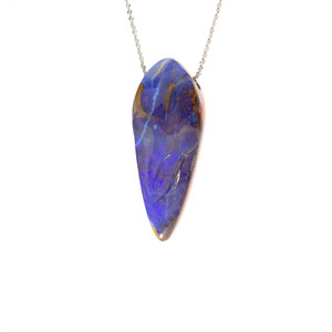 BLUE WATERFALL NATURAL SOLID OPAL NECKLACE