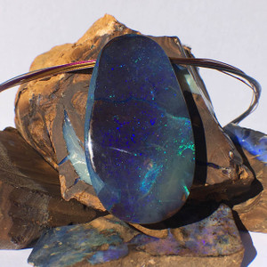 BLUE GLITTER RIVER NATURAL OPAL NECKLACE