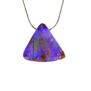 TRANSLUCENT PURPLE TRIANGLE SOLID OPAL NECKLACE
