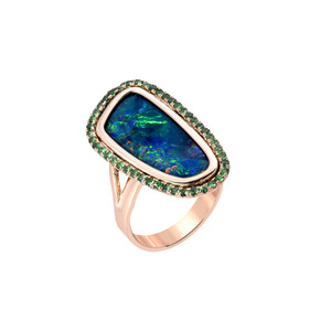 DEEP WONDERLAND FLASH TSAVORITES & OPAL 14KT YELLOW GOLD RING