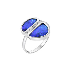 PURPLE BLISS 14KT WHITE GOLD OPAL & DIAMOND RING