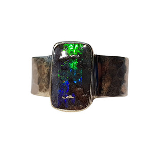 GREEN FLASH STERLING SILVER BOULDER OPAL RING