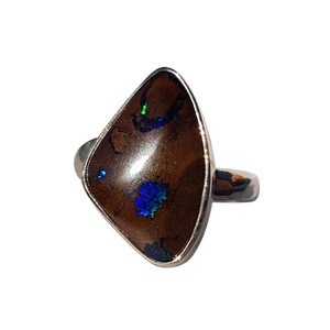 BLUE SPARK STERLING SILVER BOULDER OPAL RING