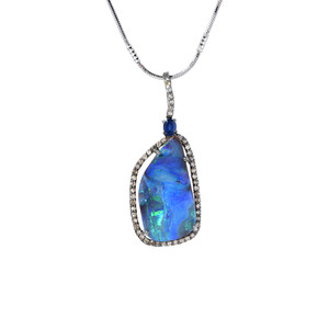 BLUE CLOUD OPAL DIAMOND AND SAPPHIRE STERLING SILVER NECKLACE