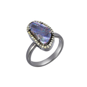 BRIGHT DREAM DIAMOND AND OPAL STERLING SILVER BOULDER OPAL RING