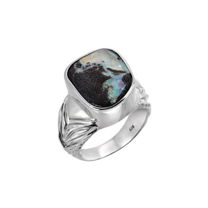 MYSTERY OCEAN STERLING SILVER BOULDER OPAL LARGE RING