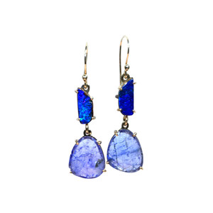 SEA BLUE BOULDER OPAL & TANZANITE 14KT GOLD EARRINGS