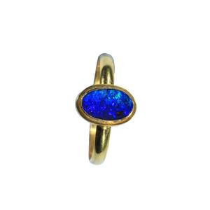 RICH BLUE 18KT GOLD SOLID NATURAL AUSTRALIAN OPAL RING