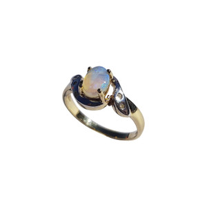 WHITE BLISS 9KT GOLD & DIAMOND WHITE OPAL RING