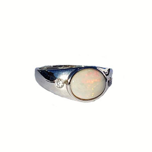 RED FLEC SOLID WHITE OPAL STERLING SILVER RING
